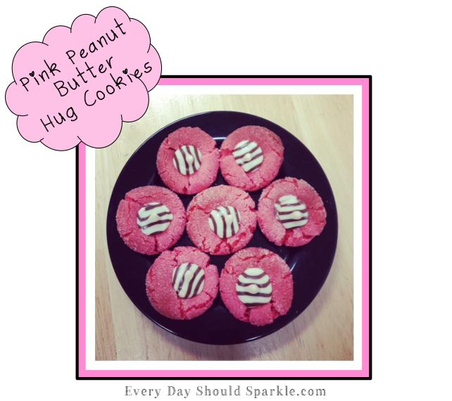 Pink Peanut Butter Hug Cookies