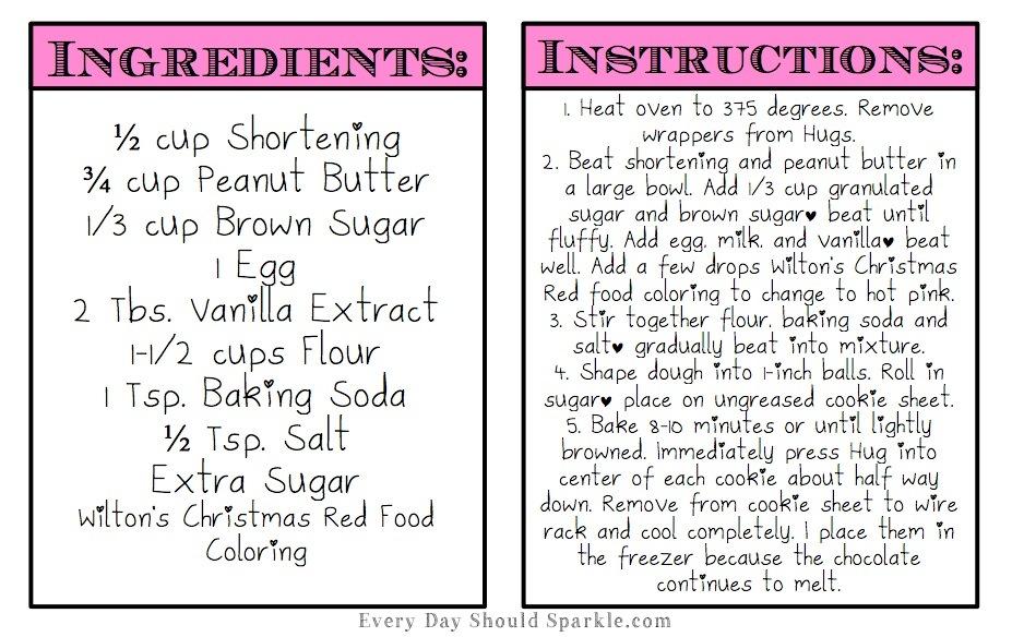 Pink Peanut Butter Hugs - Instructions