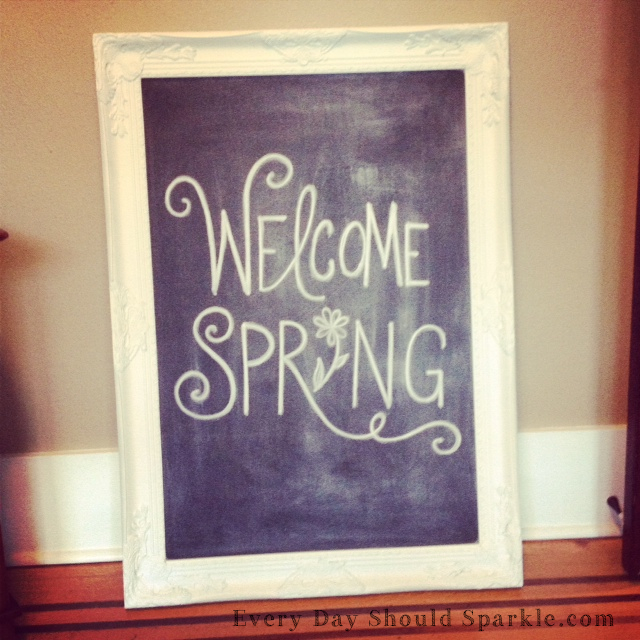 Welcome Spring - Chalkboard